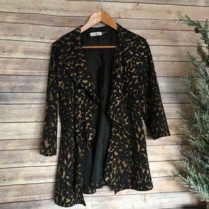 Calvin Klein leaopard print ruffled blazer sweater